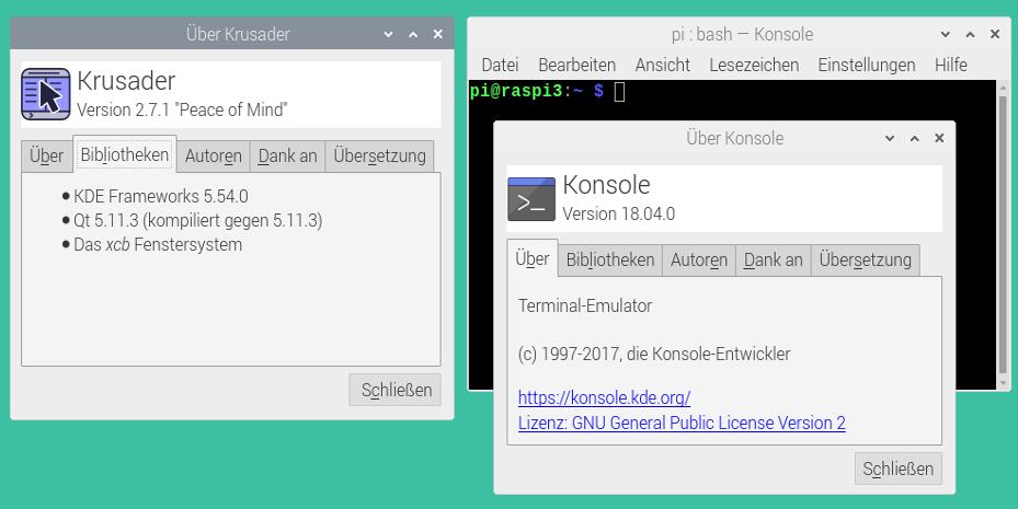 Konsole und Krusader beruhen auf KDE