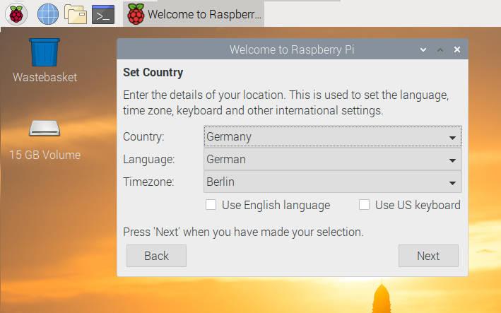 Sprachauswahl Deutsch bei Raspbian Buster