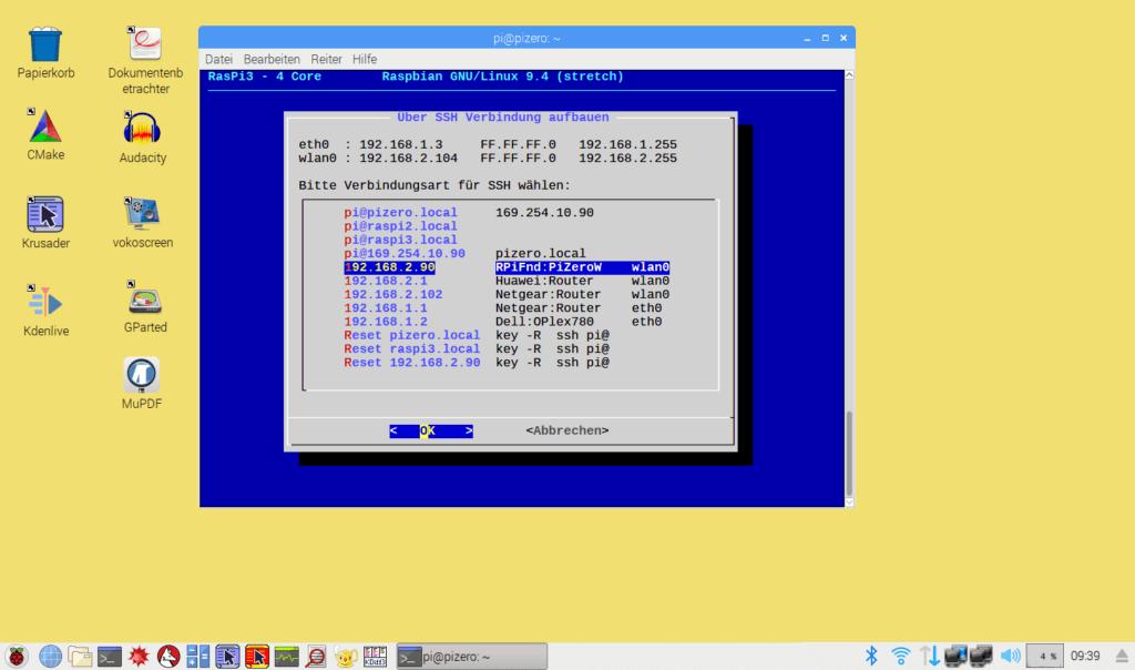 Raspberry Pi Desktop mit whiptail SSH-Dialog (ASCII-GUI)