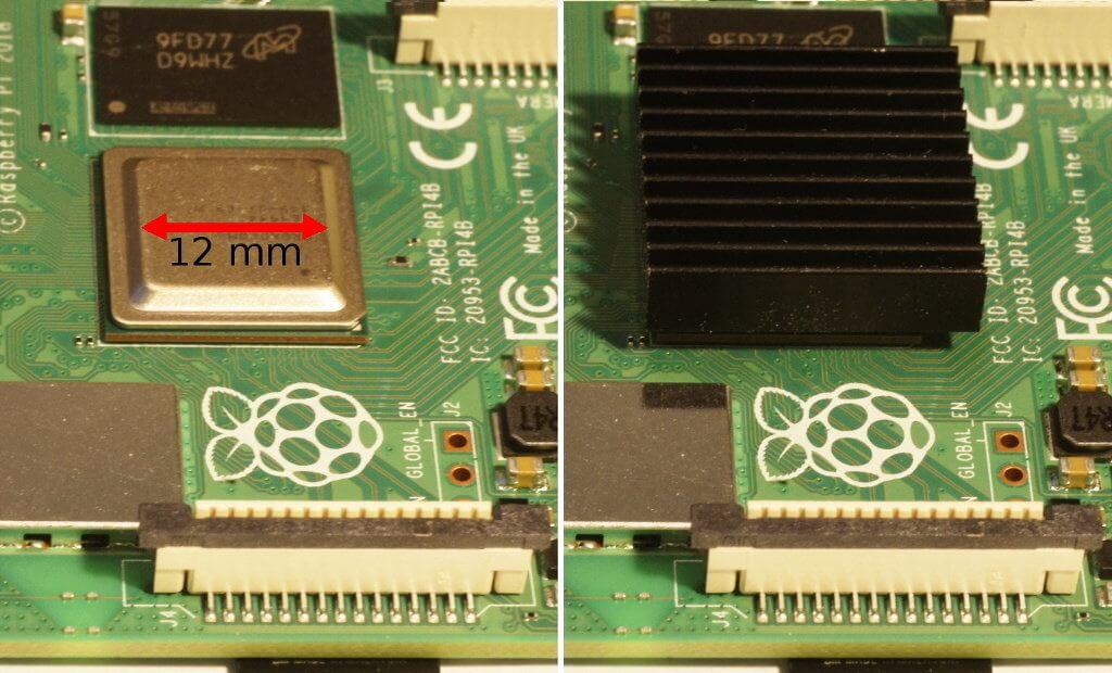 Die CPU des Raspberry Pi 4 ohne/mit Kühlkörper