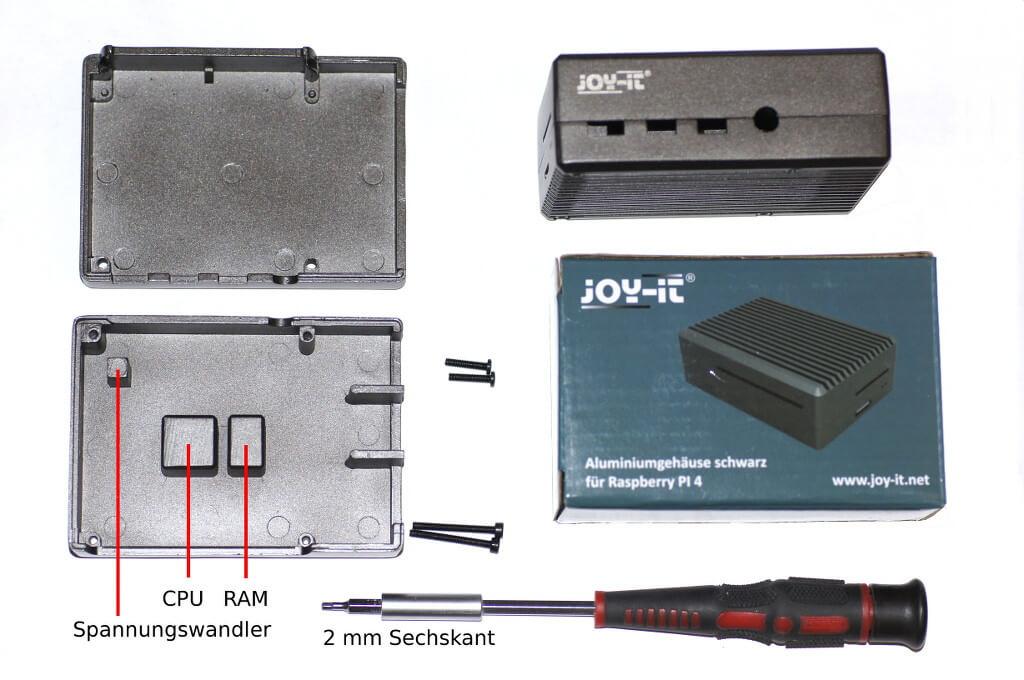 Ein Aluminiumgehäuse von JoyIt für den Pi 4