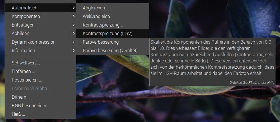 Kontrastspreizung mit GIMP